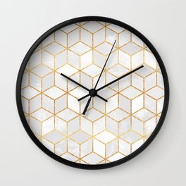 White Cubes Wall Clock