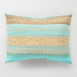 Turquoise Brown Faux Gold Glitter Stripes Pattern Pillow Sham
