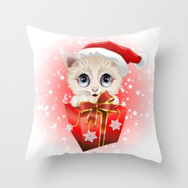 Kitten Christmas Santa with Big Red Gift Throw Pillow