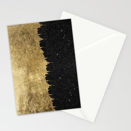 Faux Gold & Black Starry Night Brushstrokes Stationery Cards