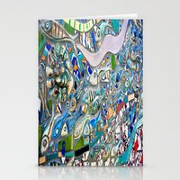 bathroom Stationery Cards featuring Venice Beach Bathroom Art by Kim Ramage