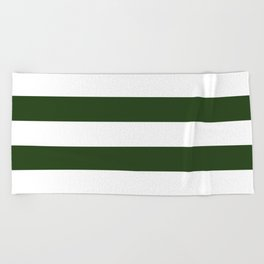 Large Dark Forest Green and White Cabana Tent Stripes Beach Towel