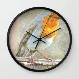The Robin Is A Gabriel Watercolor Wall Clock