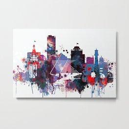 Milwaukee Watercolor Skyline Metal Print
