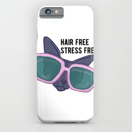 Hair Free Care Free - Sphynx Cat with Sunglasses Chilling iPhone Case