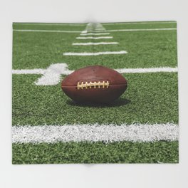 American Football Court with ball on Gras Throw Blanket