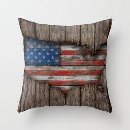 American Wood Flag Throw Pillow