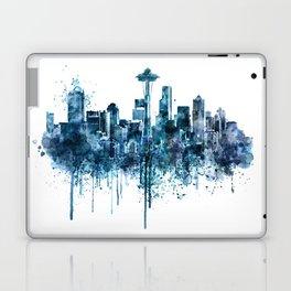 Seattle Skyline monochrome watercolor Laptop & iPad Skin
