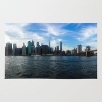 new york skyline Area & Throw Rugs featuring New York Skyline - Color by Nicklas Gustafsson