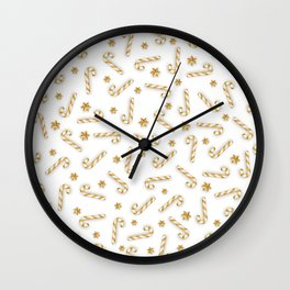 Golden Candycane Light Wall Clock