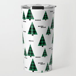 Christmas Tree forest plaid camping triangle geometric minimal festive holiday Travel Mug