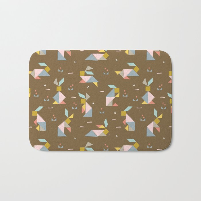 Tangram Bunnies M+M Nutmeg by Friztin Bath Mat