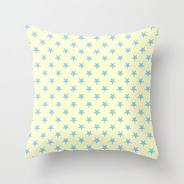 Baby Blue on Cream Yellow Stars Throw Pillow
