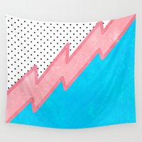 lightning Wall Tapestries featuring Pink Lightning by Kat Mun