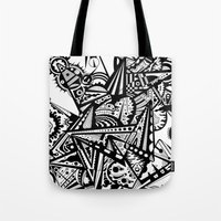 andreas preis Tote Bags featuring Black geometry by Andreas Handgruber by Artometrie.com