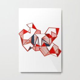 Red geo abstract paint lines   Metal Print