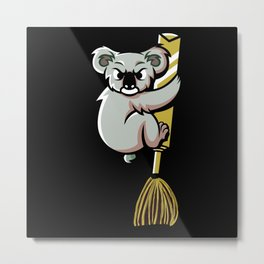 Funny Koala On A Flying Broom Metal Print