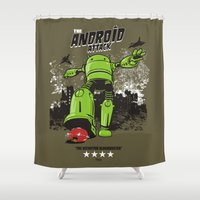 android Shower Curtains featuring ANDROID ATTACK by Adams Pinto