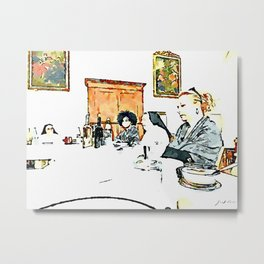 Istituto Emiliani: two nuns and two girls at the table for lunch Metal Print