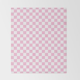 Small Checkered - White and Cotton Candy Pink Throw Blanket