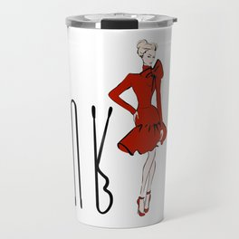 Girl in red dress with bobby pins Travel Mug
