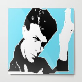 Bowie Lodger Pose Blue Background Metal Print