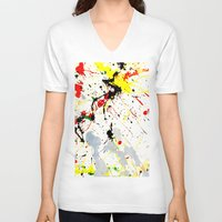 splatter V-neck T-shirts featuring Paint Splatter  by Gravityx9