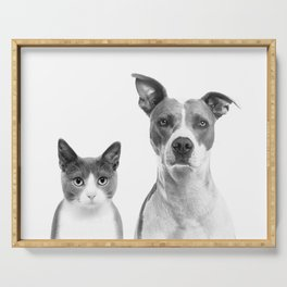 Cute Kitty Cat And Puppy Portrait Art Print, Cat And Dog Animal Nursery, Baby Animals Wall Art Decor Serving Tray