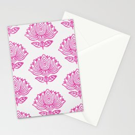 Pink Indian Woodblock Lotus Pattern Stationery Cards