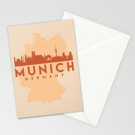 MUNICH GERMANY CITY MAP SKYLINE EARTH TONES Stationery Cards