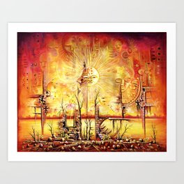 Sun Shine in my Mind surreal African Painting Art Print