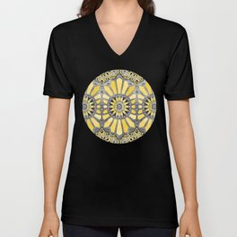 Sunny Yellow Radiant Watercolor Pattern Unisex V-Neck