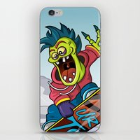 snowboarding iPhone & iPod Skins featuring Snowboarding by Brain Drain Fox