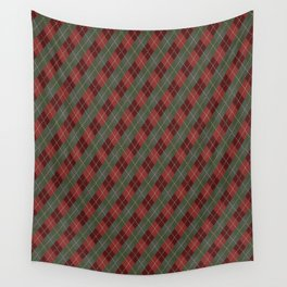 Red Green Plaid Gingham Christmas Holiday Wall Tapestry