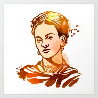 frida kahlo Art Prints featuring FRIDA KAHLO by BIG Colours