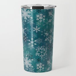 Snowflake Crystals in Turquoise Travel Mug