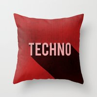 techno Throw Pillows featuring Techno by Barbo's Art