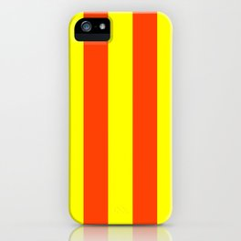 Bright Neon Orange and Yellow Vertical Cabana Tent Stripes iPhone Case