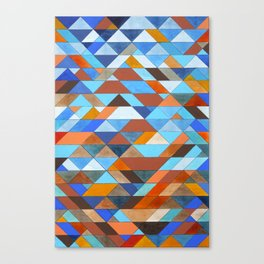 Triangle Pattern no.18 blue and orange Canvas Print