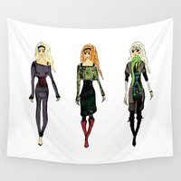 fashion illustration Wall Tapestries featuring Fashion Illustration by Anca Avram