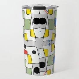 Black dots color block abstract Travel Mug