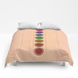 Colorful Rainbow Chakra Mandala , Yoga & Meditation Seven Sacred Mandalas Flower Painting Comforters