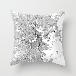 Boston White Map Throw Pillow