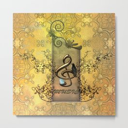 Music, celf with butterflies Metal Print