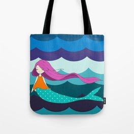 Mermaid in Blue Tote Bag