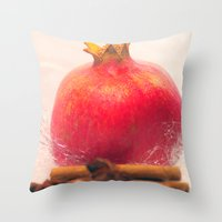 pomegranate Throw Pillows featuring Pomegranate by Tanja Riedel