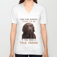 labrador V-neck T-shirts featuring Chocolate Labrador by Nojjesz