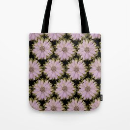 Large Gold & Lilac Flowers On Black Tote Bag