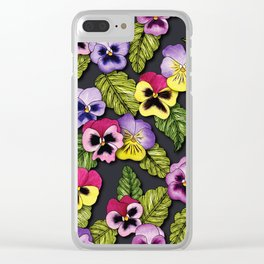 Purple, Red & Yellow Pansies With Green Leaves - Floral/Botanical Pattern Clear iPhone Case