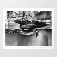 puffin Art Prints featuring PUFFIN by Maya Korzhen